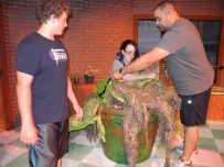 Assistant Stage Manager Josh, and Puppeteers Aubrey, and Chris,